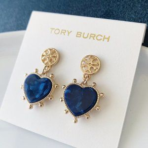 Tory Burch-blue heart earrings